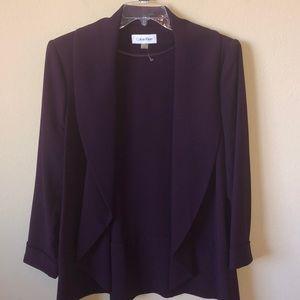 NWOT Calvin Klein Plum Open-Front Jacket